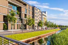Germany, Baden-Wrttemberg, Heilbronn, Neckar, District Of Neckarbogen, New Energy Efficient Apartment Buildings