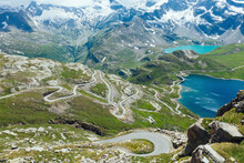 Italy, Piedmont, High Angle View Of Long Winding Road In GranÔøΩParadisoÔøΩNational Park