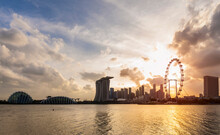 Gardens By The Bay And Skyline With Singapore Flyer, Singapore