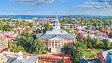 Aerial Drone Of Maryland State House, Annapolis With City