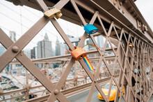 Love Locks On Brooklyn Bridge, NYC, USA