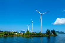 Seychelles, Mahe, Wind Wheels At Harbour