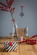 Wrapped Present, Decoration And And  Twigs Of Holly