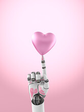 Three Dimensional Render Of Robotic Arm Balancing Pink Heart On Top Of Finger