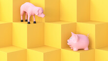 Three Dimensional Render Of Full And Empty Piggy Banks Looking At Each Other