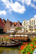 Gable Houses And Half-timbered Houses At Stint Market, Lueneburg, Germany