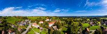 Germany, Bavaria, Wessobrunn, Helicopter Panorama Of Wessobrunn Abbey In Summer