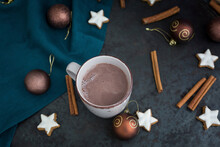 Cup Of Hot Chocolate At Christmas Time