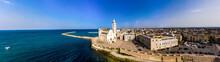 Italy, Province Of Barletta-Andria-Trani, Trani, Helicopter Panorama Of Trani Cathedral And Coastal Harbor