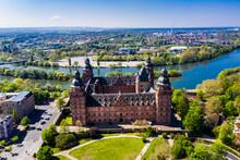 Germany, Bavaria, Aschaffenburg, Helicopter View OfÔøΩJohannisburg Castle In Summer