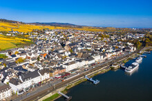 Germany, Hesse, Rudesheim Am Rhein, Helicopter View Of Riverside Town In Rhine Gorge