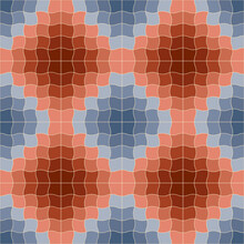 Abstract Geometric Seamless Pattern. Blue And Red Diamond Ornament Of Wavy Square Tiles. For Textile And Paper Design