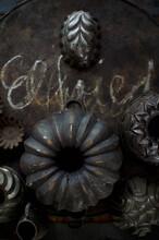 Old Rustic Baking Pans And Baking Sheet