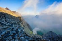 Indonesia, Java, East Java, Steaming Sulphur In The Acid Ijen Crater Lake