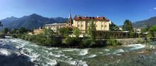 Italy, South Tyrol, Merano, River Passer Flowing AlongÔøΩPasser Promenade