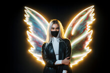 Young Woman Wearing Face Mask Posing With Illuminated Wings Against Black Background