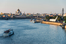 Russia, Moscow, View Over The City And The Moskva River At Sunset