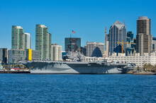USA, California, San Diego, Skyline Of San Diego With The USS Midway, Aircraft Carrier