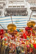 Lampions Hanging In An Asian Street, Hong Kong, China
