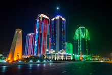 Business District Of Grozny Colourfulyl Lluminated At Night, Grozny, Chechnya
