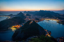View From The Sugarloaf Mountain At Sunset, Rio De Janeiro, Brazil