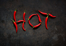 Red Chili Peppers Arranged In Word