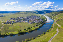 Drone Shot Of Mosel River Amidst Land, Trittenheim, Germany