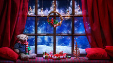 Christmas Cozy Interior Background With Window Sill Illuminated With Lights And Teddy Bear Toy