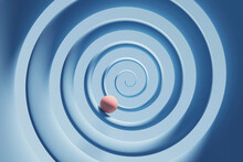 Three Dimensional Render Of Orange Sphere Rolling Down Blue Spiral