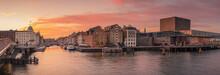 Denmark, Copenhagen, Panorama Of Nyhavn Waterfront At Dusk