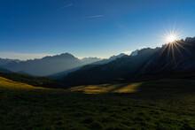 Italy, Veneto, Dolomites, Giau Pass, Cristallo And Lastoi De Formin At Sunrise