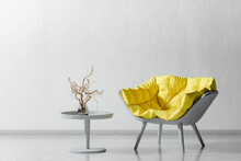 Armchair And Coffee Table, 3d Rendering