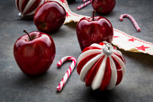 Christmas Apples, Candy Canes And Decoration