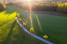 Germany, Bavaria, Upper Bavaria, Alpine Foothills, Toelzer Land, Aerial View Of Field Path Near Eurasburg