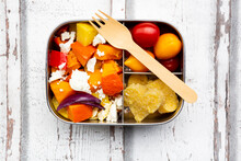 Lunch Box With Autumn Oven Baked Vegetables, Feta Cheese And Heart ShapedÔøΩpolenta
