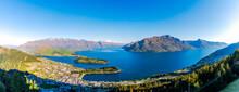 Panoramic Shot Of Town By Lake Wakatipu, Queenstown, South Island, New Zealand