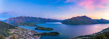 Panoramic Shot Of Lake Wakatipu Against Sky During Sunset At Queenstown, South Island, New Zealand