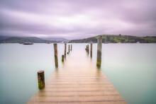 New Zealand, South Island, Akaroa, Scenic View Of Sea Pier