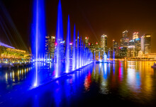 Singapore, Cityscape At Night, Trick Fountains