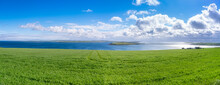 Scotland, Orkney Islands, View Over Kirk Sound And Towards One Of The Churchill Barriers On And Scapa Flow In Distance