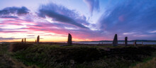 UK, Scotland, Mainland, Clouds Over Ring Of Brodgar At Moody Purple Dusk