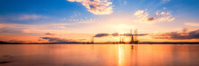 Scotland, Cromarty Firth, Oil Platforms In Sea At Sunset