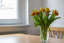 Bouquet Of Red And Yellow Tulips On Dining Table
