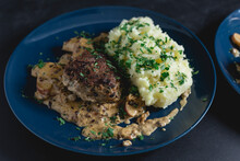 Meatball With Apple Onion Bacon Cream Sauce And Mashed Potatoes, With Parsley