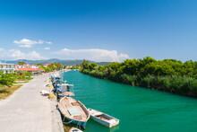 Greece, Acheron River With Fishing Boats Near Ammoudia