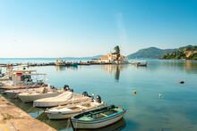 Boats Moored At Marina Against Sky At Corfu, Greece