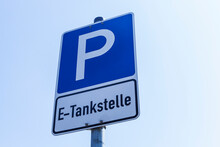 Sign Of Parking Area With Electric Vehicle Charging Station