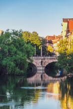 Germany, Nuremberg, Old Town, Charles Bridge And Pegnitz River