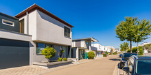 Germany, Bavaria, Neu-Ulm, New Modern Single-family Houses Of Wiley Residential Area