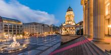 Germany, Berlin, Gendarmenmarkt, Mitte, German Cathedral, Konzerthaus, Schiller Fountain And Schiller Monument